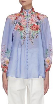 Zimmermann 'Bellitude' contrast floral print stand collar blouson sleeve blouse