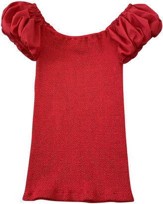 Hunza G Red Synthetic Tops