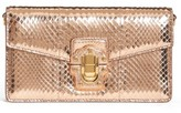 Dolce & Gabbana Lucia Genuine Snakeskin Crossbody Clutch - Orange