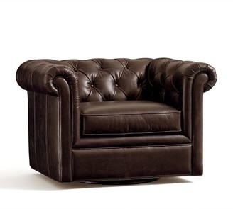 Pottery Barn Chesterfield Roll Arm Leather Swivel Armchair