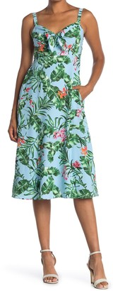 Taylor Front Bow Printed Fit & Flare Dress