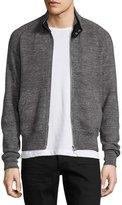 Tom Ford Merino Wool Front-Zip Bomber Sweatshirt, Charcoal