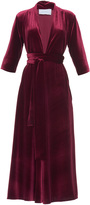 Luisa Beccaria Three-Quarter Sleeve Velvet Midi Dress