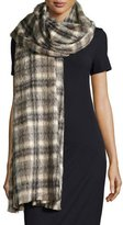 Brunello Cucinelli Long Plaid Alpaca & Wool Scarf, Vanilla/Brown