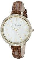 Anne Klein Women's AK/2116MPBN Swarovski Crystal Accented Gold-Tone and Brown Strap Watch