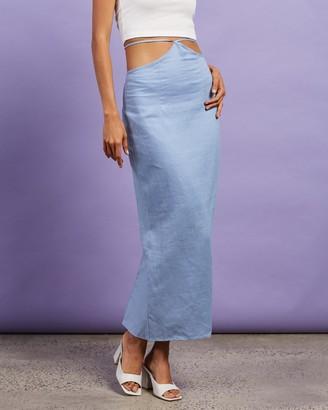 Dazie - Women's Blue Midi Skirts - Riviera Linen Midi Skirt - Size 6 at The Iconic