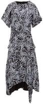 Proenza Schouler Asymmetric Zebra-print Crepe Dress - Womens - Blue Multi