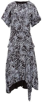 Proenza Schouler Asymmetric Zebra-print Crepe Dress - Blue Multi