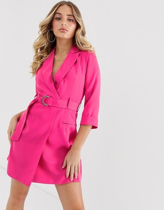 4th + Reckless cropped sleeve buckle mini dress in fuchsia