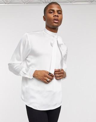 ASOS DESIGN regular fit tie front satin shirt in ivory
