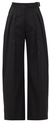 J.W.Anderson Buckled Wool-twill Wide-leg Trousers - Womens - Black
