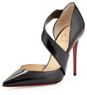 Christian Louboutin Ograde Cross-Strap Red-Sole Pump, Black
