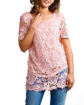 Asstd National Brand Plus Illusion Lace Crochet Lined Tunic