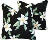 One Kings Lane Vintage Tropical Blossom Barkcloth Pillows, Pair