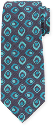 Kiton Men's Art Deco Squares Silk Tie, Navy