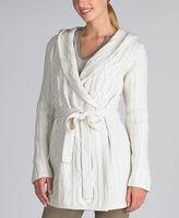 Liz Claiborne Cable Knit Long Wrap Cardigan