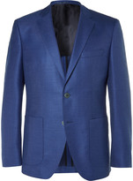 HUGO BOSS Blue Janson Slim-Fit Wool and Silk-Blend Hopsack Blazer