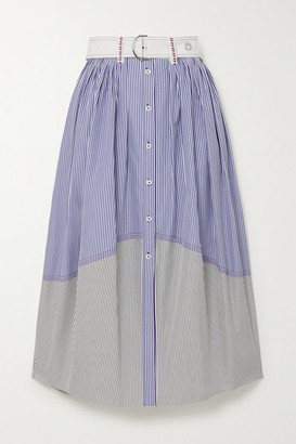 Chloé Belted Paneled Striped Cotton-poplin Midi Skirt - Blue