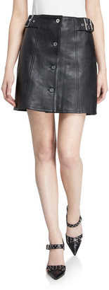 McQ Swallow Miyako Leather Button-Front Skirt