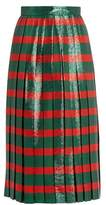 Gucci Striped pleated lamé skirt