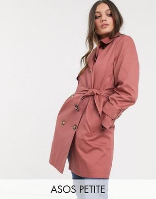 Asos DESIGN Petite trench coat in dusty rose