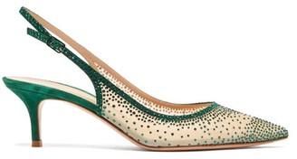 Gianvito Rossi Regina 55 Crystal-embellished Slingback Pumps - Dark Green