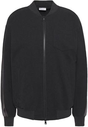 Brunello Cucinelli Satin-paneled Bead-embellished Stretch Cotton-jersey Bomber Jacket