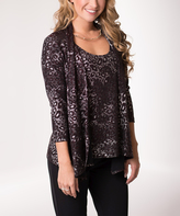 Gray & Red Leopard Shimmer Layered Cardigan