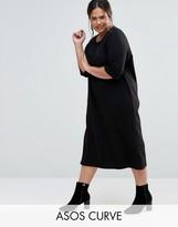 Asos Cotton Midi T-Shirt Dress With Raglan Sleeve And Boat Neck