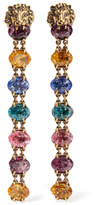 Gucci Gold-tone Swarovski Crystal Clip Earrings - one size