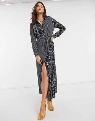 Vero Moda maxi shirt dress with tie waist in navy spot and stripe print