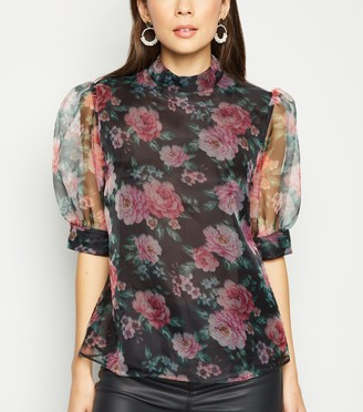 New Look Floral High Neck Organza Blouse