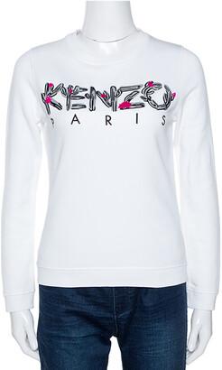 Kenzo White Logo Embroidered Cotton Long Sleeve Sweatshirt XS
