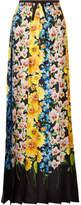 Gucci Grosgrain-trimmed Floral-print Silk-satin Maxi Skirt