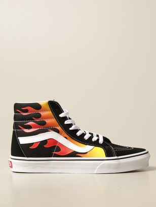 Vans Sk8-hi Reissue Sneakers In Suede And Canvas With Flames