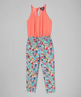 Dollhouse Orange & Blue Floral Halter-Top Jumpsuit - Kids