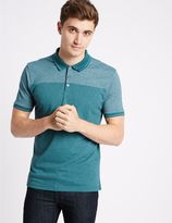 Marks and Spencer Cotton Blend Textured Polo Shirt