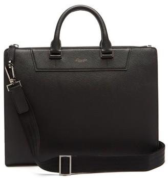 Pineider 720 Slim Saffiano-leather Briefcase - Black