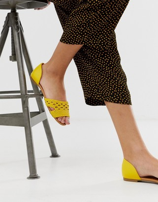 Qupid woven flat shoes-Yellow