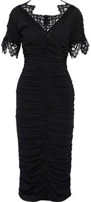 Dolce & Gabbana Guipure Lace-trimmed Ruched Silk-blend Midi Dress
