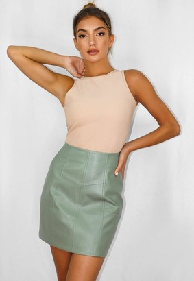 Missguided Sage Faux Leather Panel Detail Mini Skirt