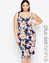 Club L Plus Midi Dress With Square Neckline In Floral Stripe Print