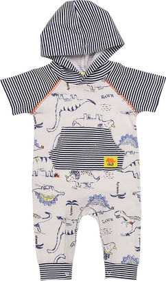 Baby Starters Boys' Rompers White - Navy & White Dinosaur Stripe Hooded Playsuit - Newborn & Infant