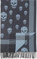 Alexander McQueen Skull Intarsia Flannel Throw-BLUE
