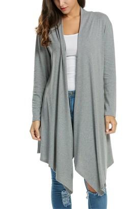 Zeagoo Women's Stretchy Waterfall Draped Open Front Knit Cardigan Sweater Top