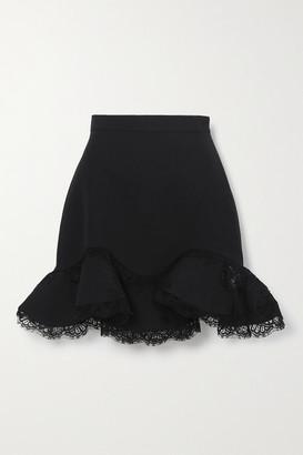 Alexander McQueen Ruffled Lace-trimmed Wool-blend Mini Skirt - Black