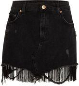 River Island Womens Black tassel hem distressed denim mini skirt