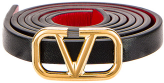 Valentino Vlogo Skinny Leather Belt in Nero & Rouge Pur | FWRD