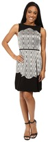 Tahari by Arthur S. Levine Petite Metallic Jacquard Fit and Flare with Scallop Detail