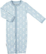 Kushies Light Blue Anchor Convertible Gown - Infant